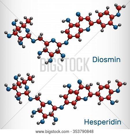 Hesperidin, Diosmin, Flavonoid Molecule. Flavanone Glycoside, Drugs For Treatment Of Venous Disease.