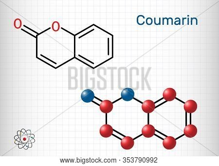 Coumarin, C9h6o2 Molecule. It Has Sweet Odor, Recognised As Scent Of Newly-mown Hay. Coumarinic Comp