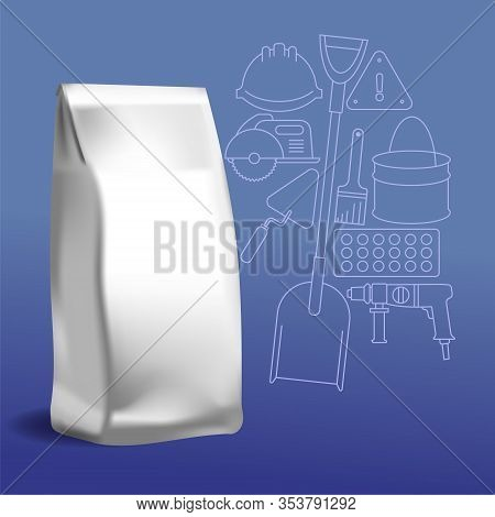 Layout Of Packaging For Construction Bulk Materials. Bag On The Background Of A Pattern Of Construct