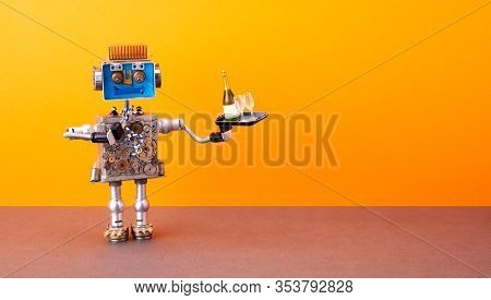 Robotic Food Delivery Service Concept. Laughing Robot Waiter Holds Tray With Wine Glasses, Bottle Of