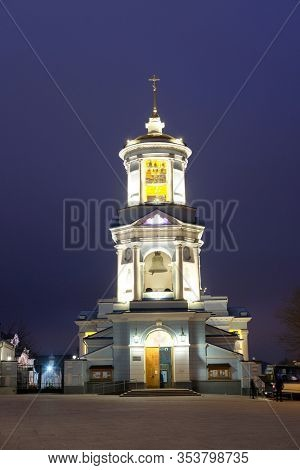 Voronezh, Russia - December, 31, 2019: image of the Pokrovsky Cathedral in Voronezh at night