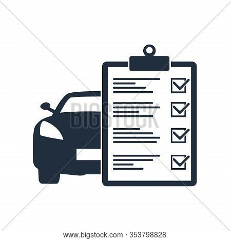 Car Maintenance List Icon, Car With Check List.