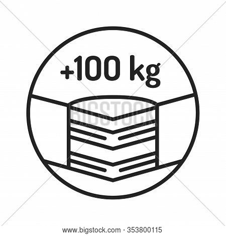 Maximum Weight Limit Up To 100 Kg Black Line Icon. Weight-limited Mattress. Pictogram For Web Page,