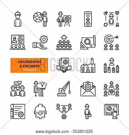 Set Of Engineering And Engineer Vector Line Icons.contains Simple  Outline Thin Web Such Icons As Te