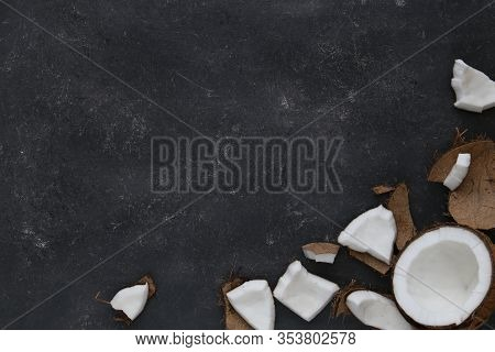 Close Up Of A Coconut On A Dark Background