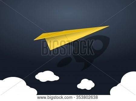 Paper Airplane Launch With Rocket Shadow. Concept Of Business Start-up, Boost Or Success.