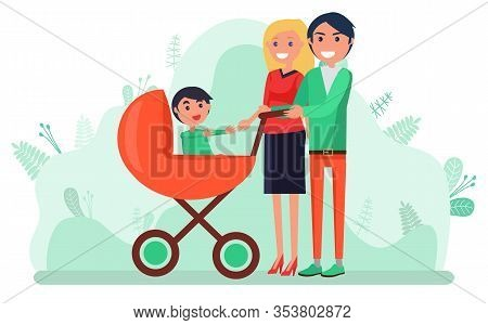 Family Walking In Park With Child Vector, Man And Woman With Kid Sitting In Perambulator. Buggy For