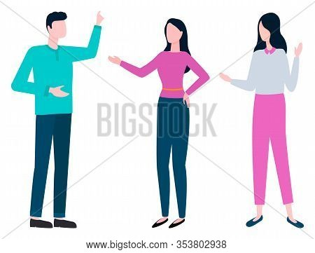 Collaboration Of Colleagues, Consulting Man And Woman Discussing Business Issues. Vector Brokers And