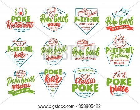 Set Of Vintage Poke Bowl Emblems And Stamps. Colorful Seafood Badges, Stickers On White Background I
