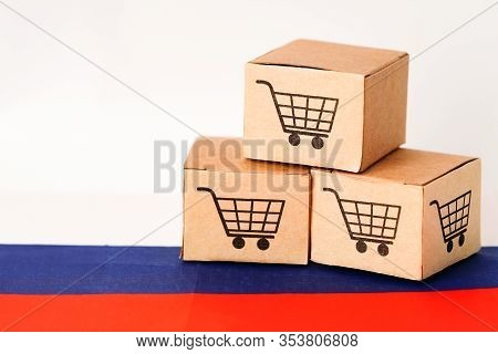 Box With Shopping Cart Logo And Russia Flag : Import Export Shopping Online Or Ecommerce Finance Del