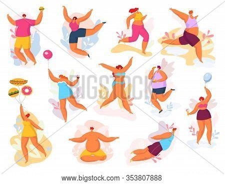 Plus Size Happy Dancing People Vector Illustration Set. Fat Man Woman, Cartoon Big Size Curvy Smilin