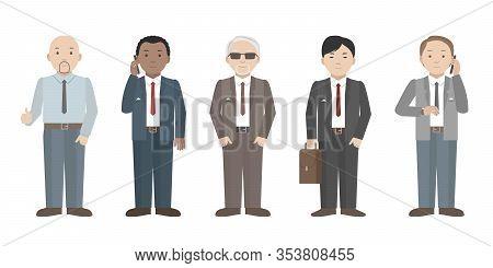 Employees Of International Company. Multiethnic Team. Vector Illustration.