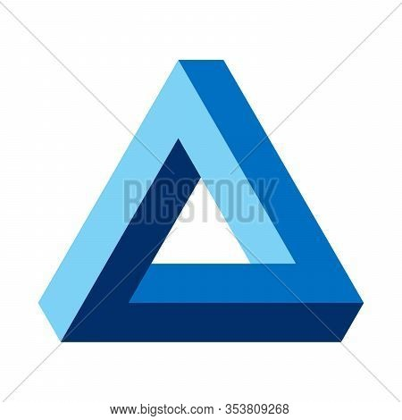 Penrose Triangle, Optical Illusion, Blue Colored. Penrose Tribar, An Impossible Object, Appears To B