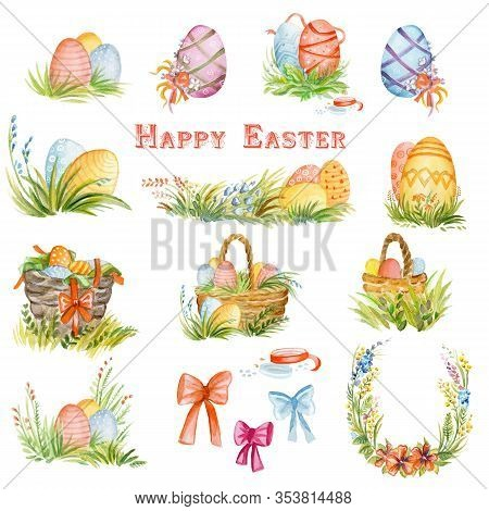 Watercolor Illustration Of Isolated Easter Elements -  Easter Eggs, Basket With Eggs, Ribbon, Grass,