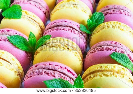 Set Of Colorful Macaroon, Decorated With Mint Leaves.