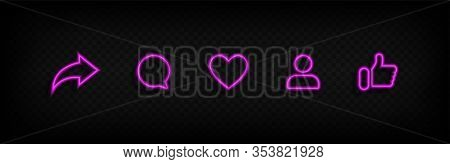 Social Media Icons In Neon Style Thumb Up And Heart Icon With Repost And Comment. Flat Signs Icons O