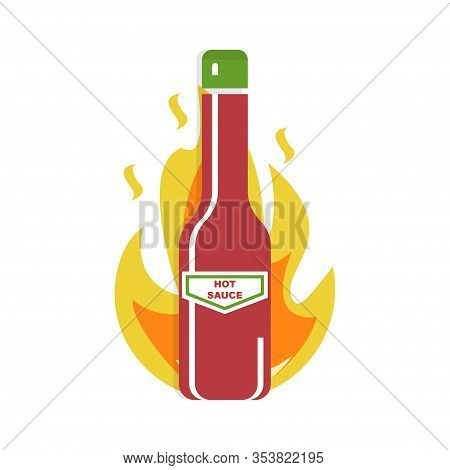 Sauce Bottle With Icon Fire. Hot Sauce Symbol. Vector