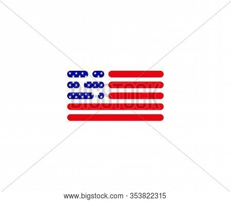 Flag Usa In Code Style. White Isolated Background. Vector