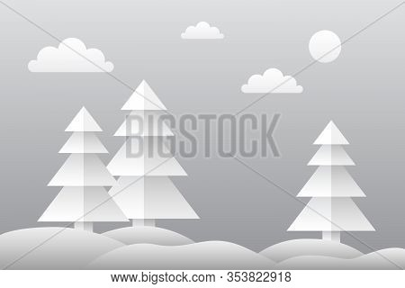 Winter Forest With Snowdrifts. Conceptual Landscape. Vector Illustration.