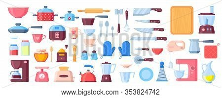 Vector Kitchen Utensils Flat Elements Set. Kitchenware Cooking Objects With Shadows And Reflections
