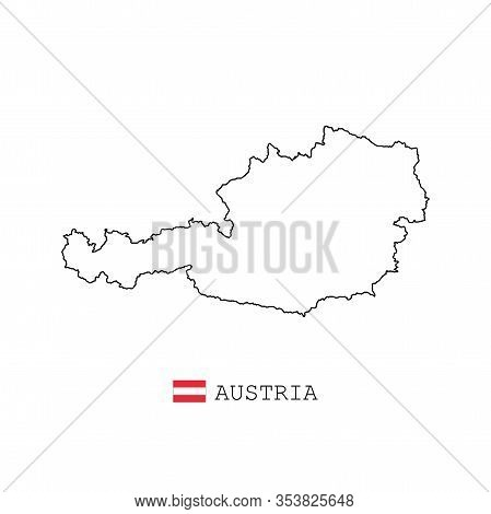 Austria Map Line, Linear Thin Vector. Austria Simple Map And Flag.