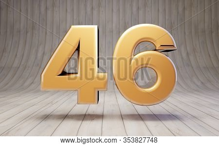 Golden Number 46 On Wooden Floor. 3d Rendered Glossy Gold Alphabet Character.