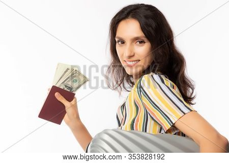 Traveler Or Tourist Woman Holding Passport, Baggage And Money. Beautiful Lady Get Ready For Travelin