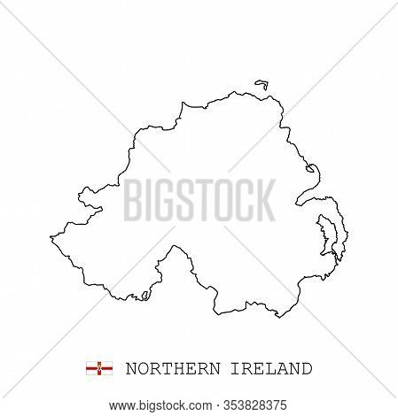 Northern Ireland Map Line, Linear Thin Vector. Northern Ireland Simple Map And Flag.