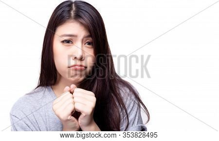 Asian Woman Say Please. Pretty Girl Beg Someone Apologize, Forgive Her That Beautiful Woman Did Some