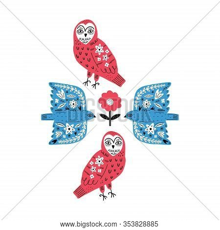 Modern Folk Tribal Boho Patterned Animals In Scandinavian Style. Floral Slovak Ornament, Inspired By