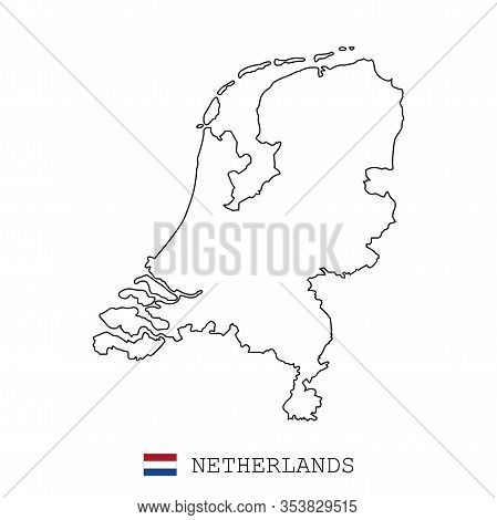 Netherlands, Holland Map Line, Linear Thin Vector. Netherlands, Holland Simple Map And Flag.