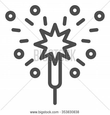 Bengal Fire Line Icon. Party Celebration Light Sparkler Symbol, Outline Style Pictogram On White Bac