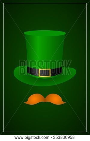 St Patricks Day Vertical Banner With Leprechaun Hat And Mustache. Vector Illustration.