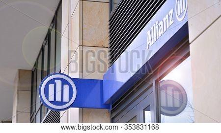 Warsaw, Poland. 3 March 2020. Sign Allianz. Company Allianz.