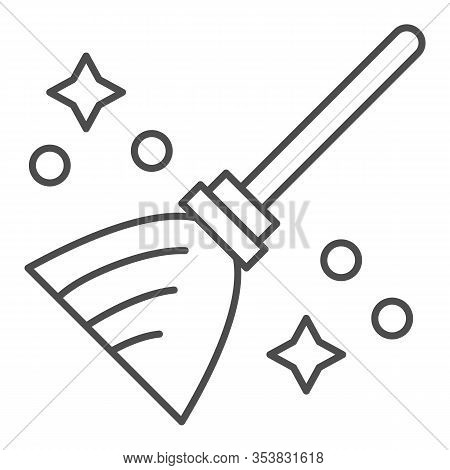 Magic Broom Thin Line Icon. Wizard And Witch Flying Besom For Household. Halloween Party Vector Desi