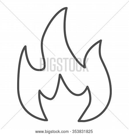 Highly Flammable Thin Line Icon. Attention Fire Warning Sign. Firefighter Vector Design Concept, Out