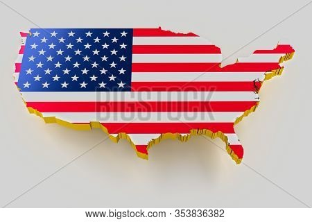 3d Map Of Usa. Map Of Usa Land Border With Flag. Usa Map On White Background. 3d Rendering