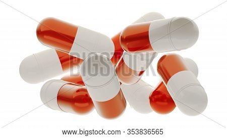 Falling Pill Capsules, Medical Illustration. 3d Rendering Pills Isolated On White. Pharmacy Opened C