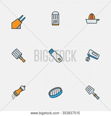 Gastronomy Icons Colored Line Set With Hand Grater, Hand Mixer, Sieve Colander Elements. Isolated Ve