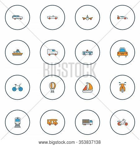 Transit Icons Colored Line Set With Ship, Motorcycle, Truck And Other Caravan Elements. Isolated Ill
