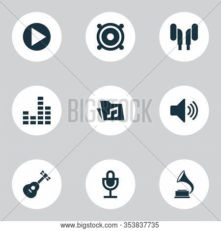 Multimedia Icons Set With Volume, Play, Speaker And Other Megaphone Elements. Isolated Vector Illust