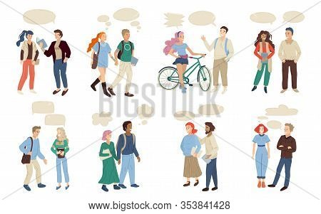 Dialogue Between Two People. Set Of Multinational Pairs Talking Each Other. Vector Illustration