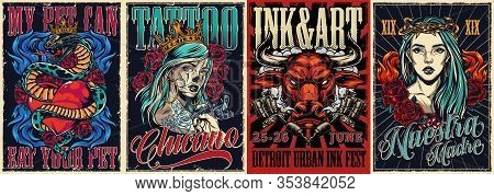 Vintage Colorful Tattoo Conventions Posters With Letterings Angry Red Bull Head Snake Entwined About