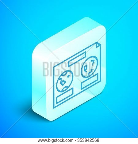 Isometric Line Celestial Map Of The Night Sky Icon Isolated On Blue Background. Starry Hemisphere. P