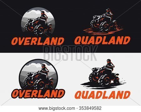 Set Of Atv Vehicle Logo, Emblems And Badges On Dark Background And White Background. All-terrain Off