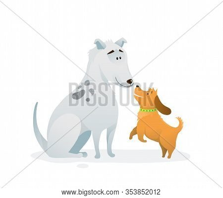 Two Dogs Animal Pets Puppies Playing Jumping Buddies Colorful Humorous Cartoon.
