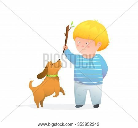Kid Boy Throwing Stick For Puppy Jumping Happy And Joyful Smiling Humour Kids Illustration.