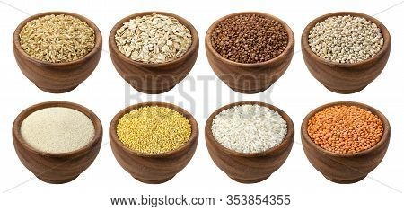 Buckwheat, Millet, Rice And Semolina Isolated On White Background