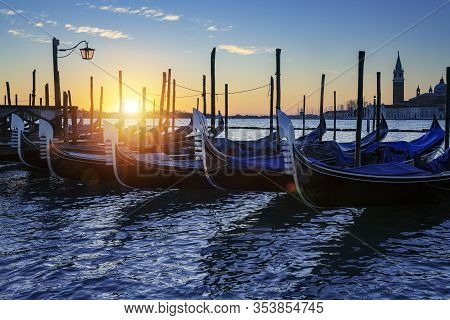 Gondola In Venice At Sunrise, Italy, Europe