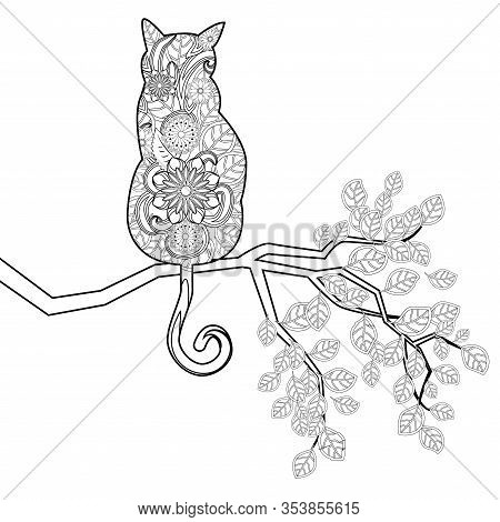 Coloring Book Magic Cat Sitting On A Branch For Adults. Hand Drawn Artistically Ethnic Ornament With
